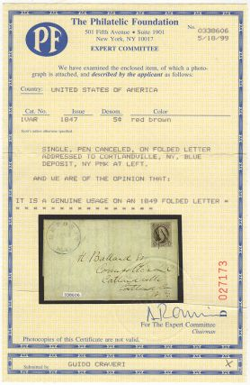 Folded letter from by an important New York jurist—who had tried and sentenced many men during the infamous Anti-Rent War—shortly after he relocated to a small rural town not far from Binghamton; franked with a very nice example of first U. S. Postage Stamp (Scott #1)