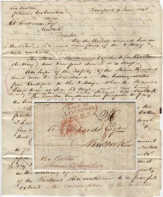 Two-page folded letter with printed circular sent via the Steamer Columbia from Liverpool to New...