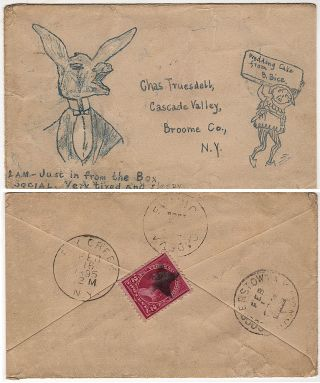 Hand-drawings of a finely dressed donkey and court jester on a postally used envelope with a fancy cancel