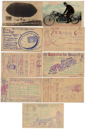 Collection of New York Motorcycle Club announcements: seven postal cards from the club's secretary and two postcards from its most famous member, Glenn Curtis