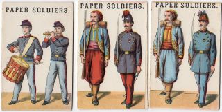 Three ten-soldier sets of McLoughlin Paper Soldiers