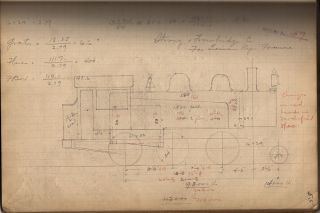 "Notebook of 98 hand-drawn Preliminary Locomotive Designs with accompanying manuscript planning calculations for ""Rogers Loco. Co."""