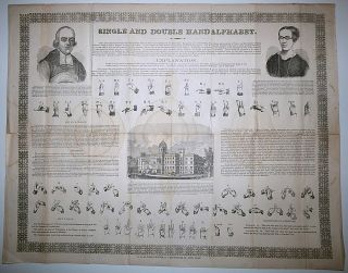 "Large deaf education broadside titled, ""Single and Double Hand Alphabet"""