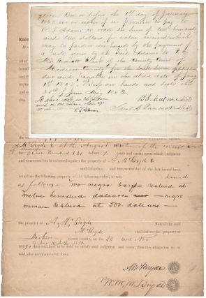 Two Madison County, Tennessee slave documents: 1) an 1849 bond pledging the auction of three slaves to meet a civil judgment against the slaves' owner, and 2) a slave sale promissory note written to come due on 1 January 1863, the day that President Lincoln would issue the Emancipation Proclamation.