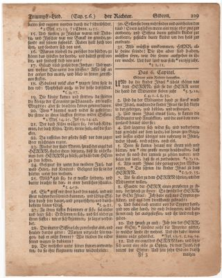 "Leaf from the ""Gun Wad"" Bible, Der Richter (Judges) Chapter 5:15 to 6:34"
