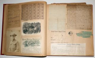 Memory book assembled by one of the first U.S. YMCA workers to deploy during World War One who later received a commission in the Army and after the Armistice served as a missionary in North Dakota.