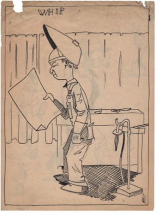 "Collection of 42 original drawings on twenty leaves by an industrial welder and aspiring cartoonist plus six of his daily diaries kept during the boom years of the late 1920s and beginning of the Great Depressio. Kern Udo ""Whip"" Whipple."