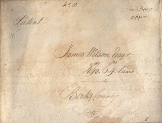 Official Pennsylvania land patent signed by Thomas Mifflin and A. J. Dallas certifying that James Wilson had purchased a tract of land in Berks County
