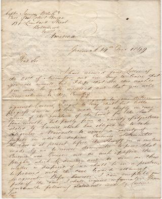 Letter from a Scottish lawyer requesting information from a ship captain in Baltimore about an...