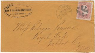 Postally used envelope sent from the Baltimore Association for the Moral & Educational Improvement of the Colored People to an African-American woman who had established a school in Royal Oak, Maryland