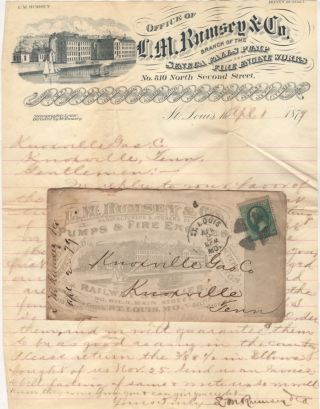 Sales letter with an illustrated advertising envelope for Rumsey Pumps & Fire Engines, a branch of the Seneca Fails Pump and Fire Engine Works