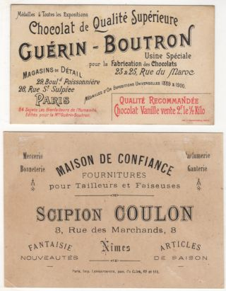 Two different French advertising trade cards featuring colorful illustrations of Johannes Gutenberg