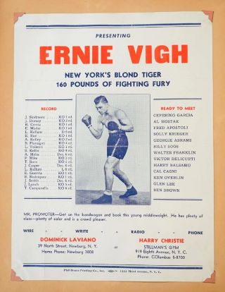 Photograph Album-Scrapbook for an almost-big-time middle-weight fighter, Ernie Vigh, who really 'coulda been a contender and shouda had shots at a coupla title fights'