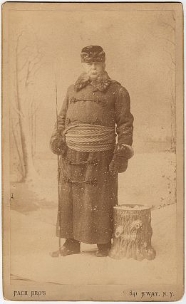 Occupational cabinet card photograph of a New York City coachman in winter dress