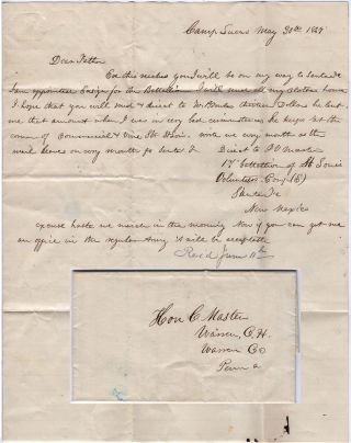 One-page Mexican-American War letter from a newly appointed ensign in the Missouri Volunteers as his unit prepared to depart Camp Lucas in Missouri on the Great Platte River Road in route to establishing Fort Kearny for protection of the Oregon Trail. John V. Masters to the Honorable C. Masters.