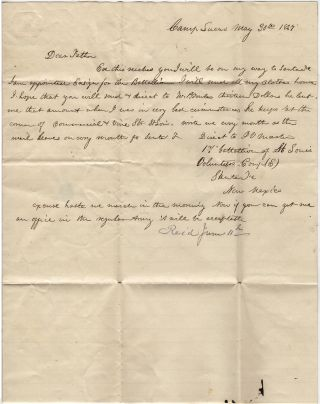 One-page Mexican-American War letter from a newly appointed ensign in the Missouri Volunteers as his unit prepared to depart Camp Lucas in Missouri on the Great Platte River Road in route to establishing Fort Kearny for protection of the Oregon Trail.