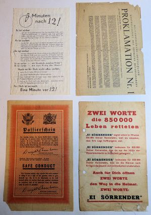 Collection of 20 different World War II propaganda leaflets distributed by either airdrop or artillery fire