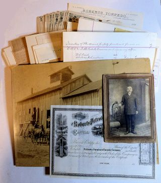 Significant archive pertaining to the inventors of fracking, the Roberts Petroleum Torpedo Company, including documents, letters, and a large photograph of its Nitroglycerin factory. Edward A. L., Walter B. Roberts.