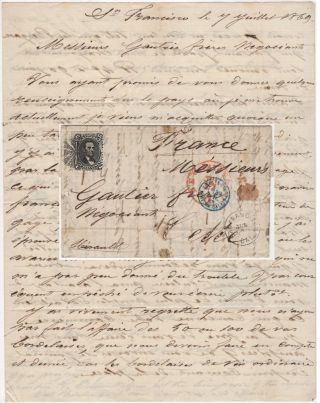 Letter from a French ship captain in San Francisco to a wine wholesaler in Southern France...