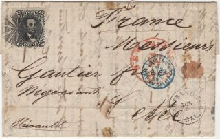 Letter from a French ship captain in San Francisco to a wine wholesaler in Southern France franked with the first Lincoln stamp issued by the United States