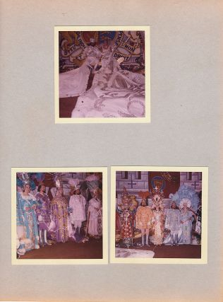 Two-volume set of albums documenting the reign of the richest business woman in America—a smart, tough, and crooked self-made multi-millionaire gas and oil mogul—as the Queen of the Krewe of Venus, the first all-female Mardi Gras parade krew3