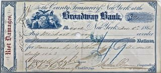 Two checks reimbursing property owners for damage to their buildings incurred during the infamous New York City Draft Riots during the Civil War