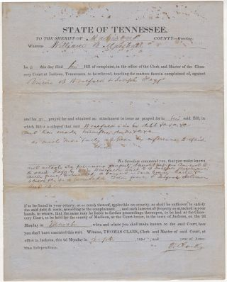 One-page, partially printed writ ordering a Sheriff to attach slaves and real property in compensation for an unpaid debt