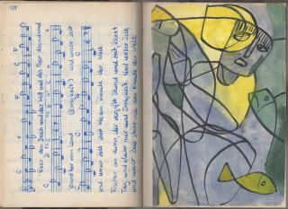 Hand-written and hand-illustrated folksong book with music and lyrics in both German and English