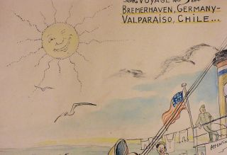 Original comic watercolor documenting life aboard a post-World War II U.S. Army ship transporting displaced persons from Europe to a new life in the Americas