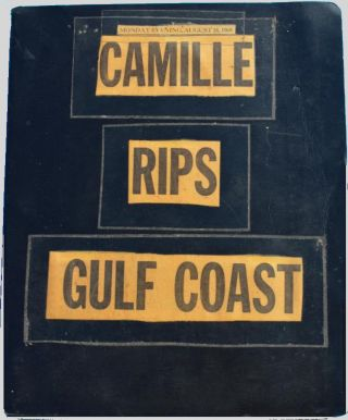 Photograph album-scrapbook documenting the destruction caused to the Mississippi Gulf Coast by Hurricane Camille, the second most powerful hurricane ever to strike the continental United States. Unidentified compiler.