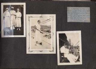 Photograph album documenting the training of a male nurse at the William Mason Memorial Hospital during the 1920s