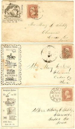 Collection of American Tract Society, Philadelphia Tract House Civil War patriotic envelopes (covers) used by a soldier in the 31st Regiment of Iowa Volunteer Infantry.