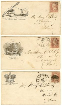 Collection of American Tract Society, Philadelphia Tract House Civil War patriotic envelopes (covers) used by a soldier in the 31st Regiment of Iowa Volunteer Infantry