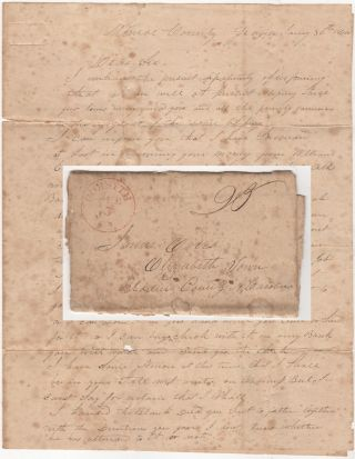 A stampless, folded letter from a slave-trader in Georgia discussing the price of cotton and...