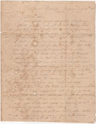 "A stampless, folded letter from a slave-trader in Georgia discussing the price of cotton and ""negro men"" and reporting that business has picked up and he is doing well"
