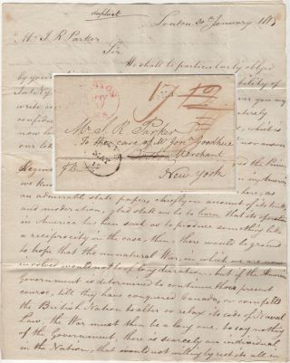 Commercial letter from London to the United States discussing the prospect of continuing the War...