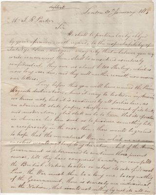 Commercial letter from London to the United States discussing the prospect of continuing the War of 1812 delivered by the American privateer, Brutus, just as the British were imposing a blockade on American harbors