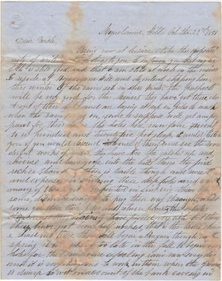Detailed letter from a miner at the most infamous of all California Gold Rush camps, Mokelumne Hill