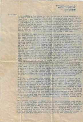 Psychiatric hospital letter from a schizophrenic Alaskan, who murdered his gold-miner father...