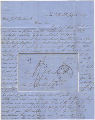 Stampless letter describing the earliest commercial mining of coal at the site it was first...