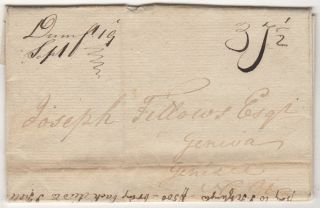 "Stampless ""War Rate"" letter from a land owner in Prince William County, Virginia offering to sell property to a colleague in Genesee County, New York"