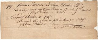 Receipt for work performed by a rented Rhode Island slave on the Sloop Venus shortly before it...