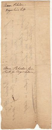 Receipt for work performed by a rented Rhode Island slave on the Sloop Venus shortly before it departed on a voyage where it would be captured while trading for slaves at the Congo River with an African despot, the King of Cape Benda