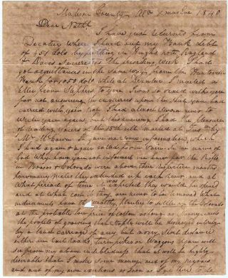 Letter from a father in Alabama to his son in the Republic of Texas discussing his plans to emigrate therel and establish a large cotton plantation