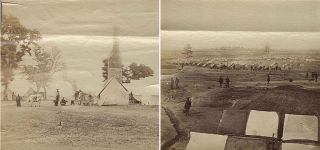 Two Civil War albumin photographs of African-Americans at military camps in Virginia. One...