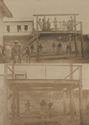Two albumen cabinet card photographs showing the execution of a Philippine ladron or insurgent by...