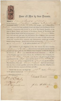 "An unusual post-Civil War indenture between a ""Moulder or Iron Founder"" and a Massachusetts..."