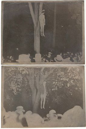Two photographs of the last lynching in California following the kidnapping and brutal murder of...