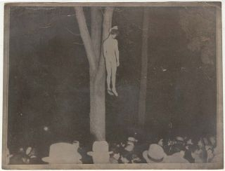 Two photographs of the last lynching in California following the kidnapping and brutal murder of Brooke Hart