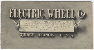 Illustrated advertising envelope and catalog for Electric Wheel Company farm and lumber wagons